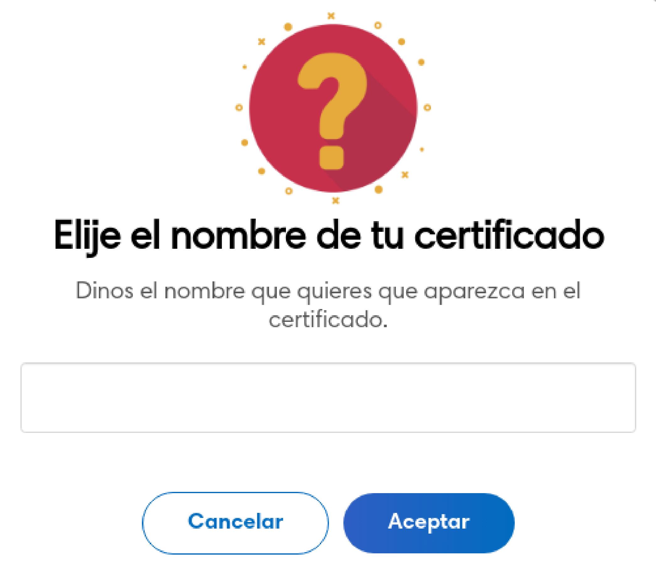 Nombre a completar de certificado